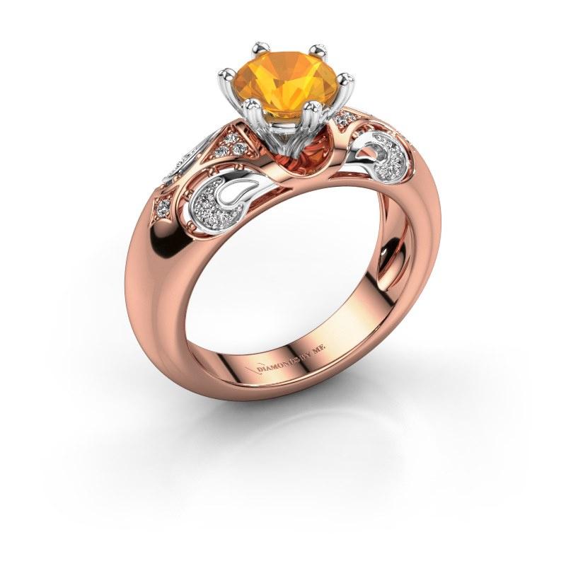 Ring Maya 585 rosé goud citrien 6.5 mm