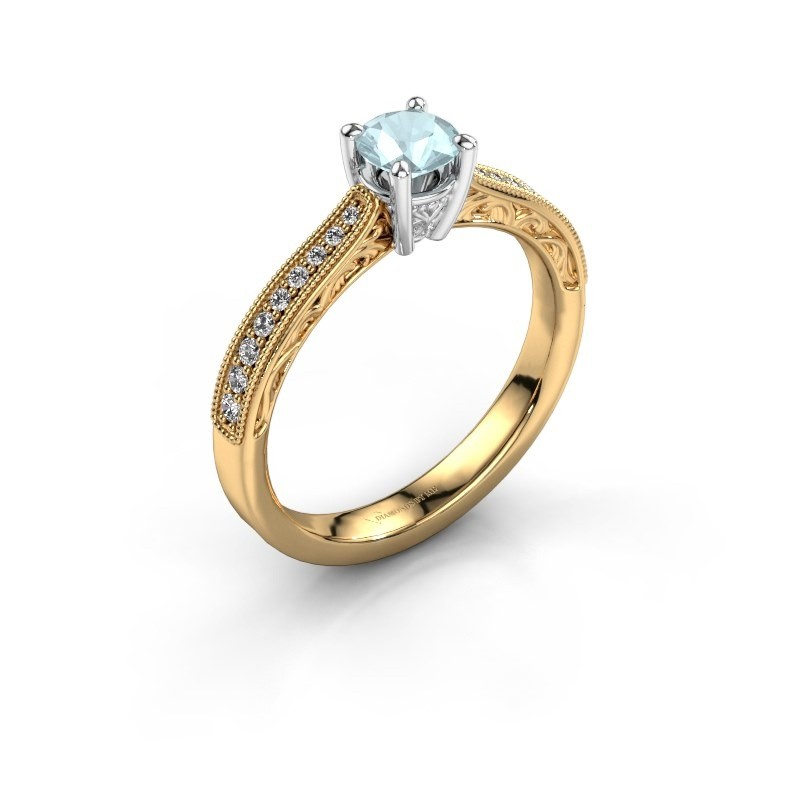 Belofte ring Shonta RND 585 goud aquamarijn 4.7 mm