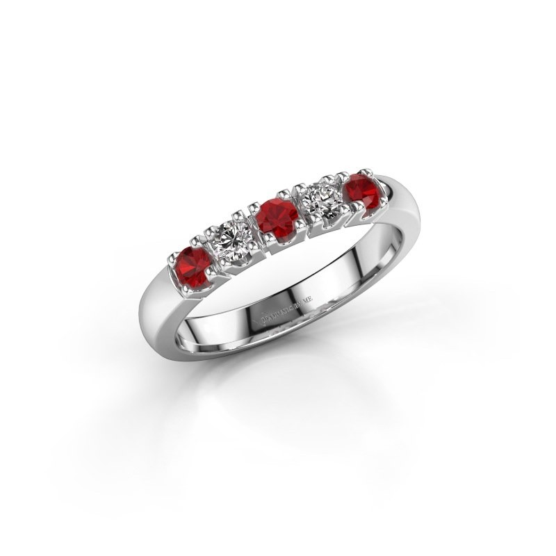 Engagement ring Rianne 5 925 silver ruby 2.7 mm