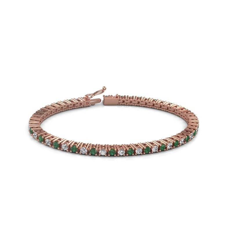Tennis bracelet Petra 375 rose gold emerald 3 mm