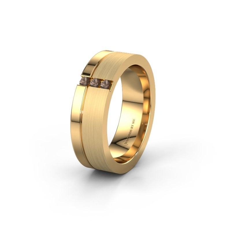 Trouwring WH0327L16B 585 goud rookkwarts ±6x2 mm
