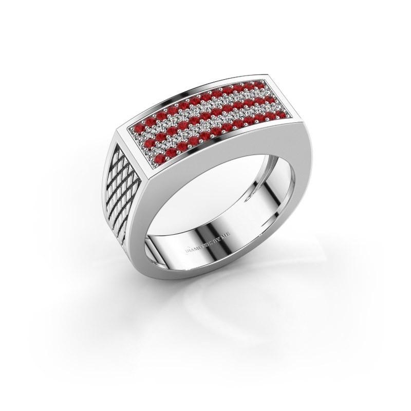 Heren ring Erwin 375 witgoud robijn 1.2 mm