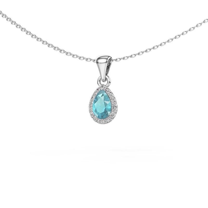 Collier Seline per 585 witgoud blauw topaas 6x4 mm