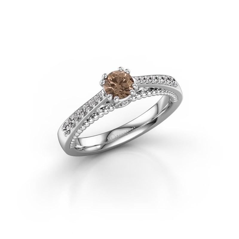 Verlovingsring Rozella 585 witgoud bruine diamant 0.518 crt