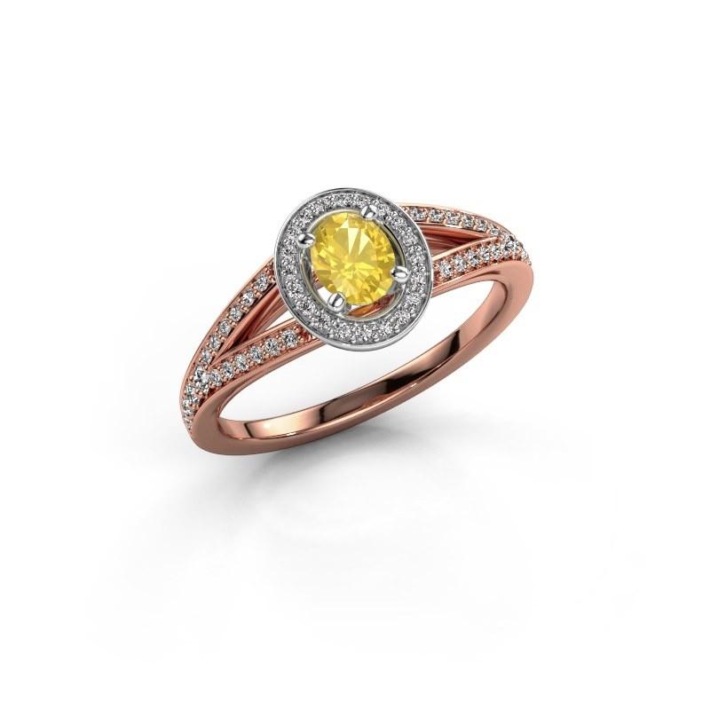 Verlovings ring Angelita OVL 585 rosé goud gele saffier 6x4 mm