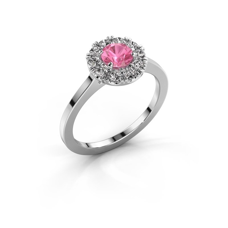 Verlovingsring Misti 1 585 witgoud roze saffier 5 mm