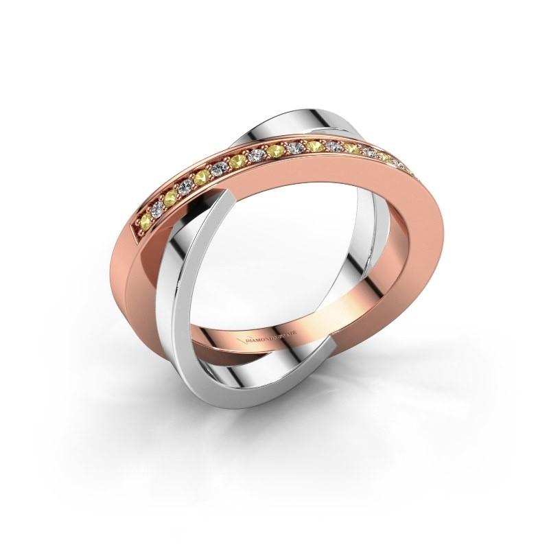 Ring Julie 585 rosé goud gele saffier 1.2 mm