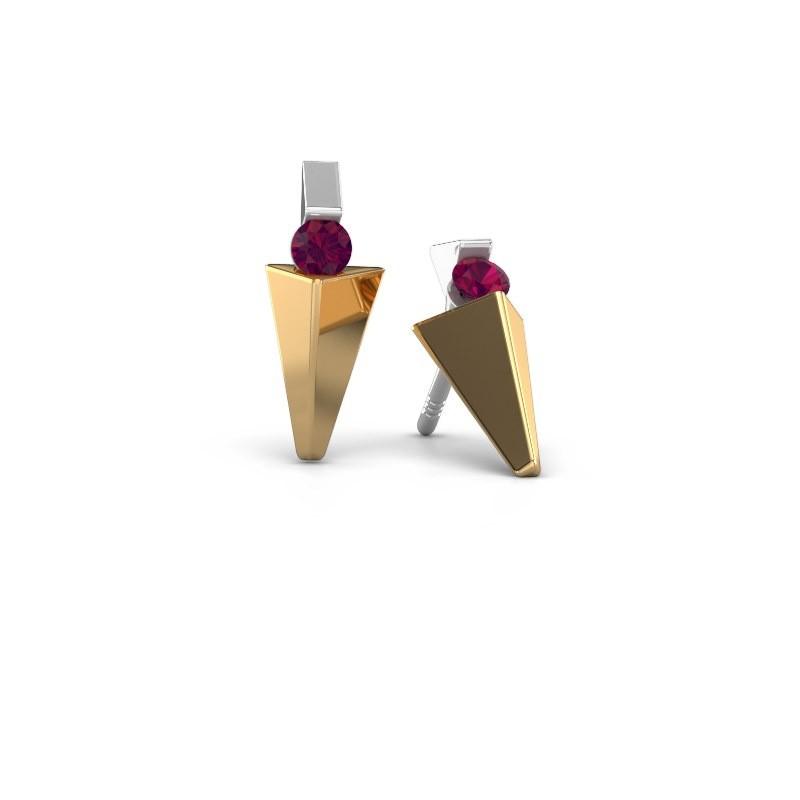 Oorbellen Corina 585 goud rhodoliet 3 mm