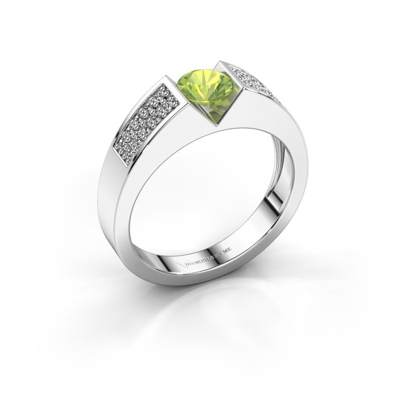 Engagement ring Lizzy 3 925 silver peridot 5 mm