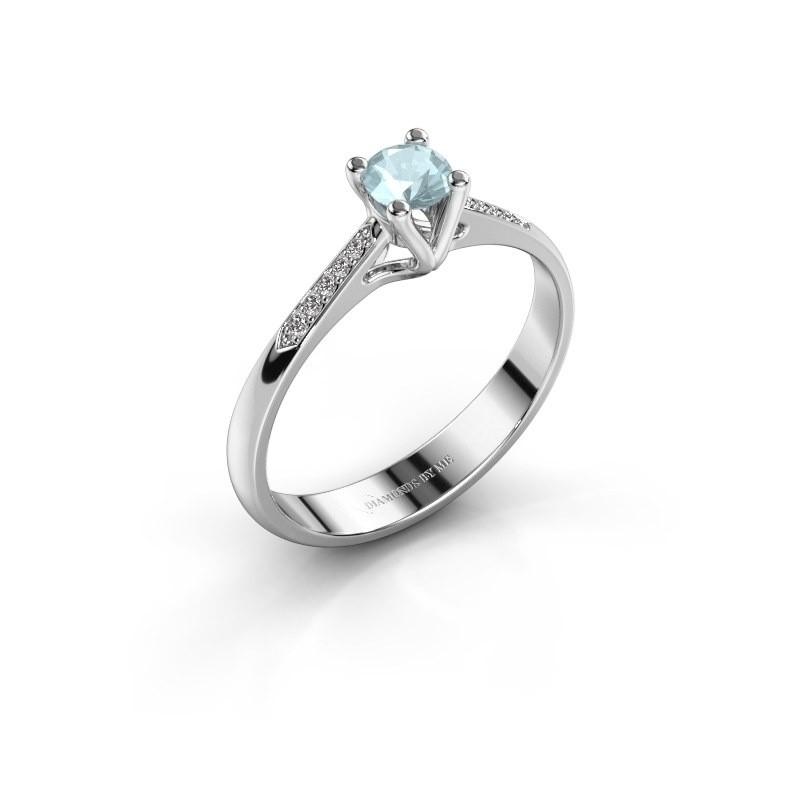 Promise ring Janna 2 925 zilver aquamarijn 4 mm