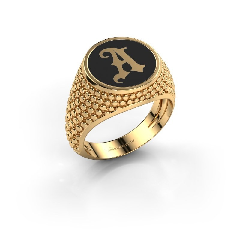 Monogram ring Zachary 585 goud zwarte emaille
