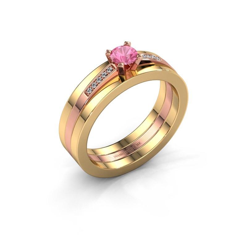 Verlobungsring Celeste 585 Roségold Pink Saphir 4 mm