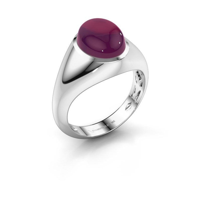 Ring Zaza 585 witgoud rhodoliet 10x8 mm