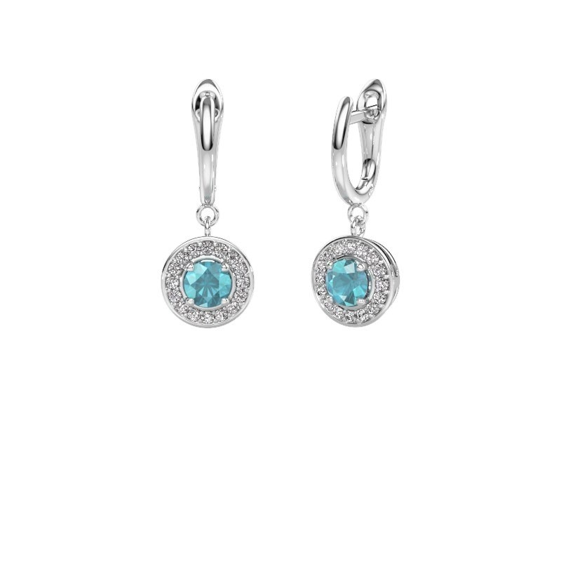 Drop earrings Ninette 1 950 platinum blue topaz 5 mm
