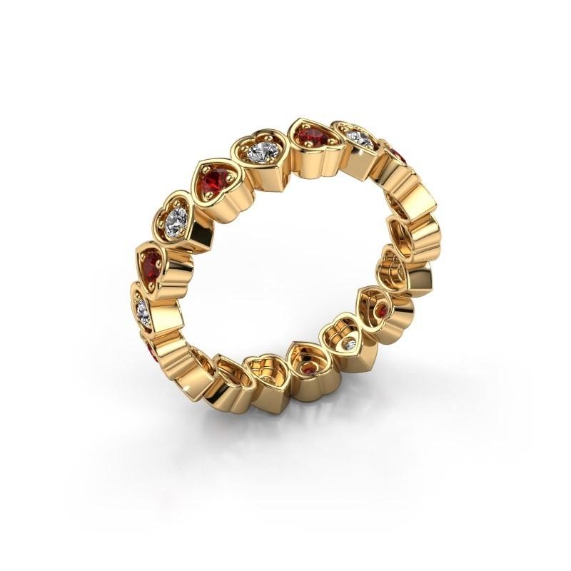 Stackable ring Pleun 585 gold garnet 2 mm