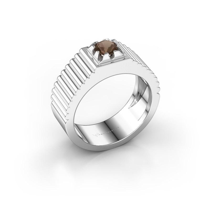 Pink ring Elias 950 platina rookkwarts 5 mm