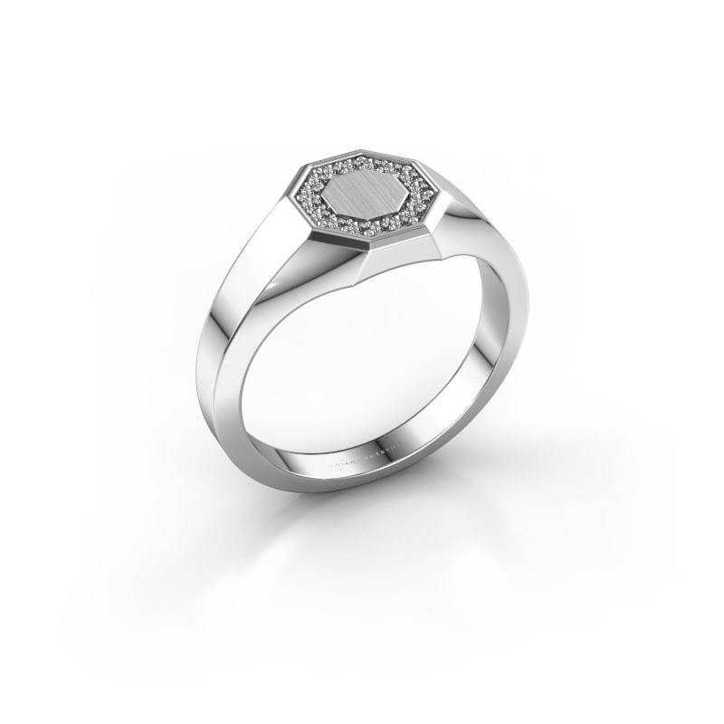Pinky ring Floris Octa 1 375 white gold zirconia 1.2 mm
