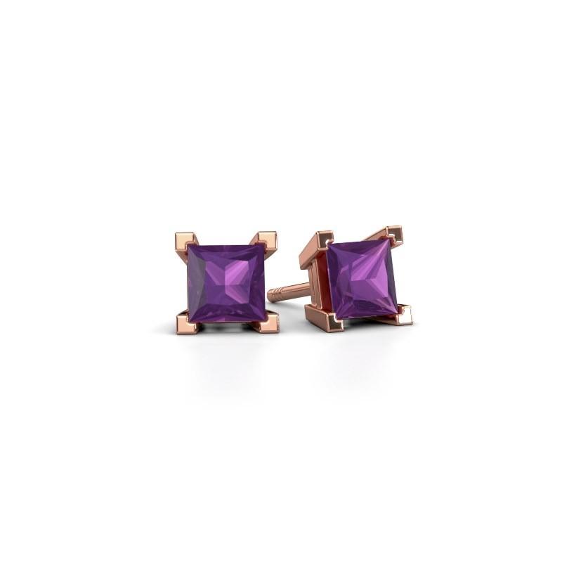 Stud earrings Ariane 375 rose gold amethyst 5 mm