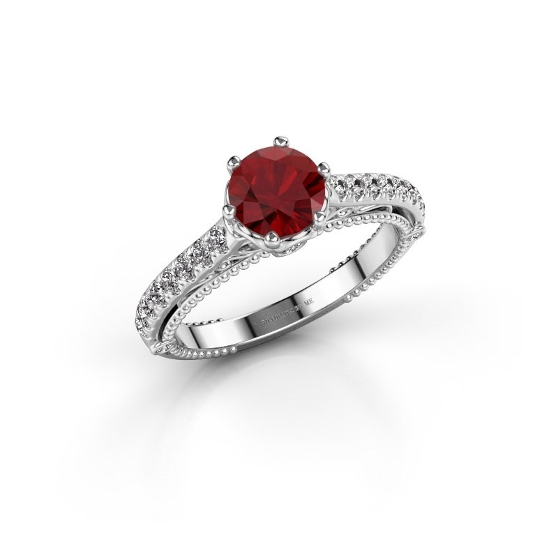 Engagement ring Venita 585 white gold ruby 6.5 mm