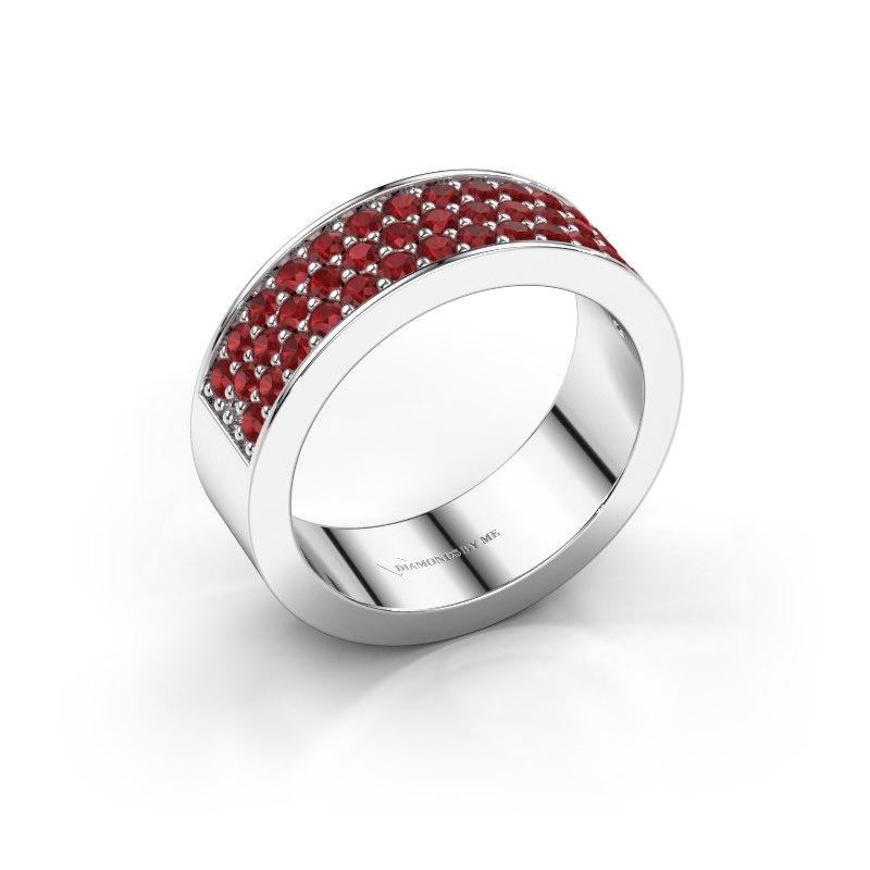 Ring Lindsey 6 950 platina robijn 1.7 mm