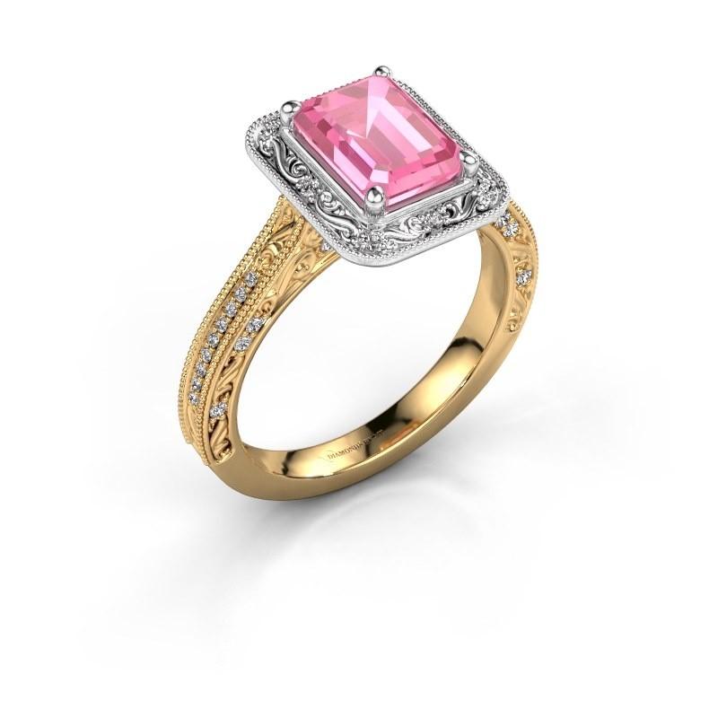 Verlovings ring Alice EME 585 goud roze saffier 7x5 mm