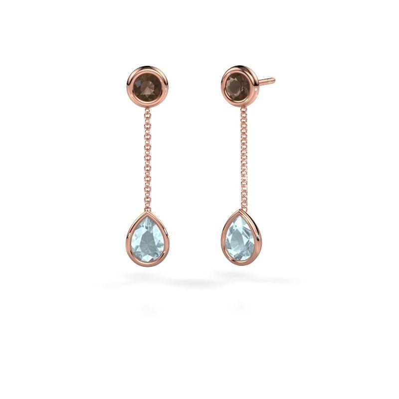 Drop earrings Ladawn 585 rose gold aquamarine 7x5 mm