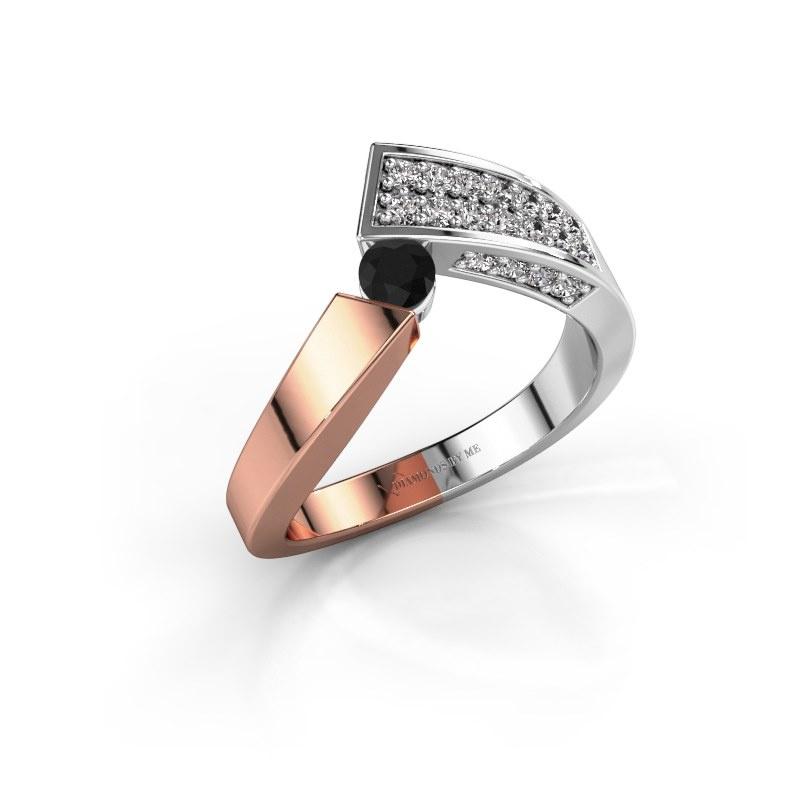 Bague Evie 585 or rose diamant noir 0.486 crt