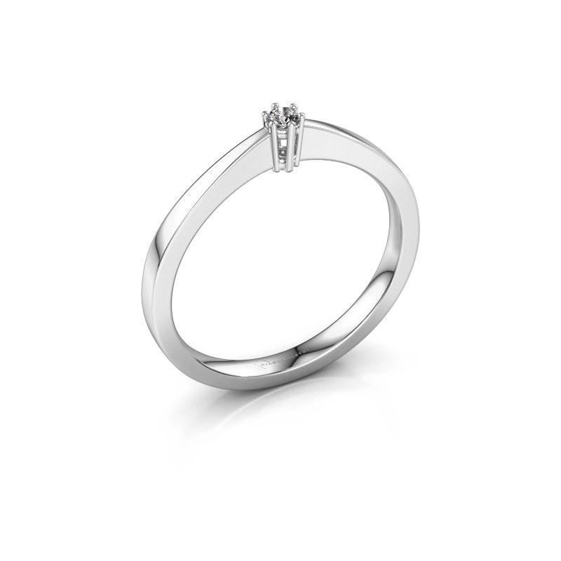 Bague de fiançailles Noortje 585 or blanc diamant 0.03 crt