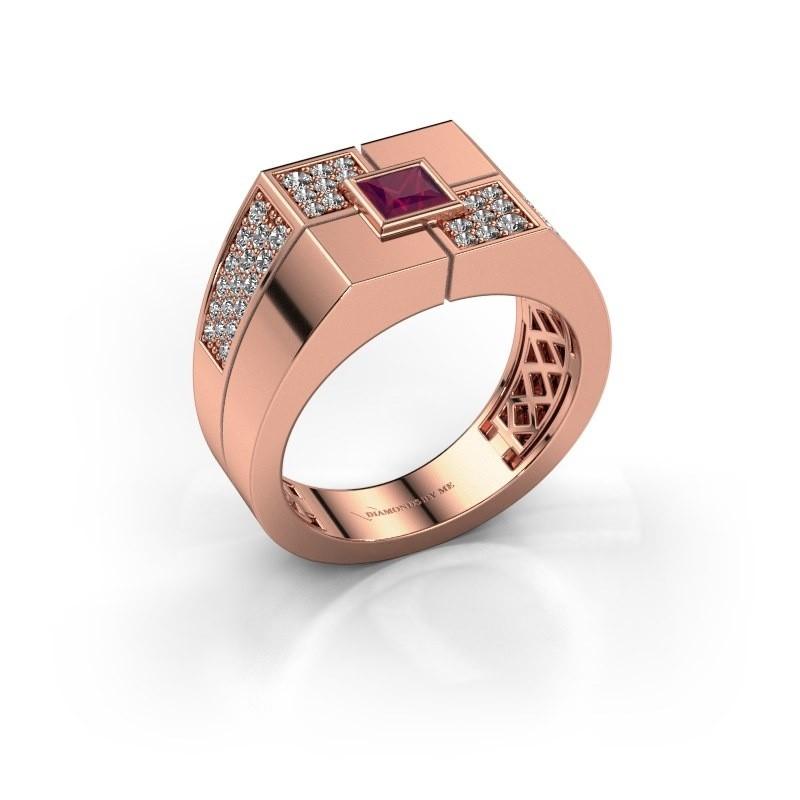 Men's ring Rogier 375 rose gold rhodolite 4 mm