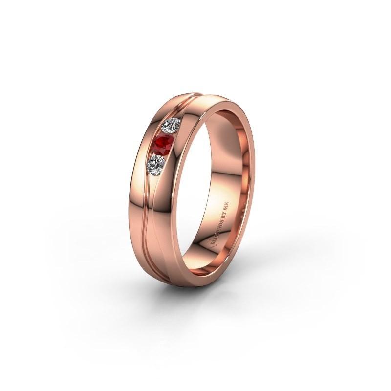 Trouwring WH0172L25A 375 rosé goud robijn ±5x1.7 mm