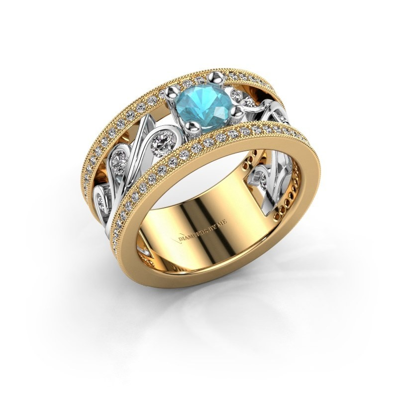 Ring Sanne 585 goud blauw topaas 5 mm