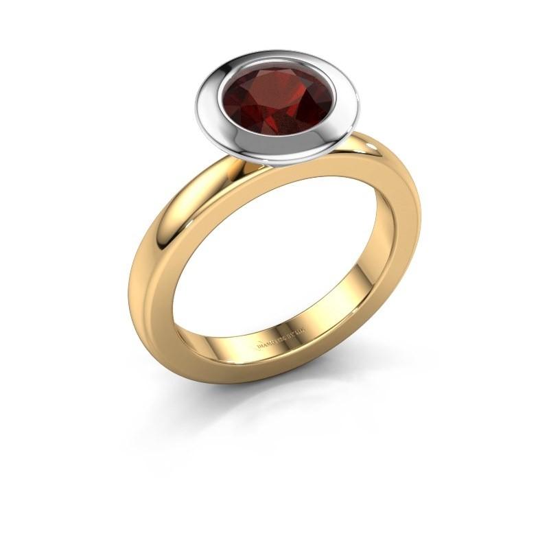 Stacking ring Trudy Round 585 gold garnet 7 mm
