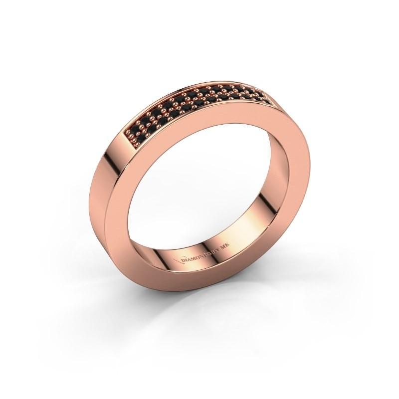 Stackable ring Catharina 1 375 rose gold black diamond 0.192 crt