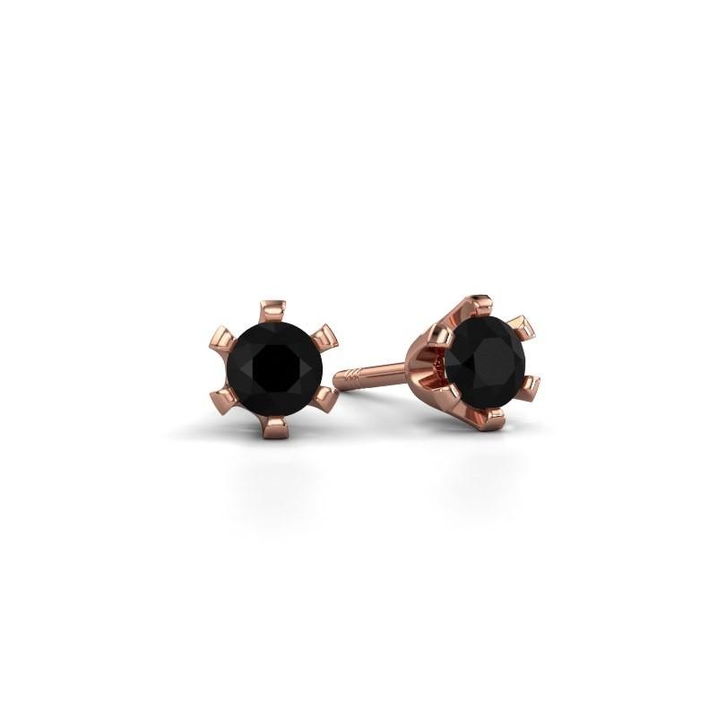 Stud earrings Shana 375 rose gold black diamond 0.30 crt