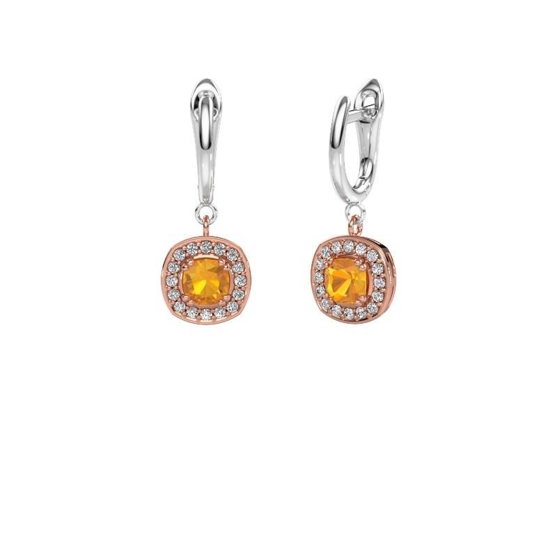 Drop earrings Marlotte 1 585 rose gold citrin 5 mm