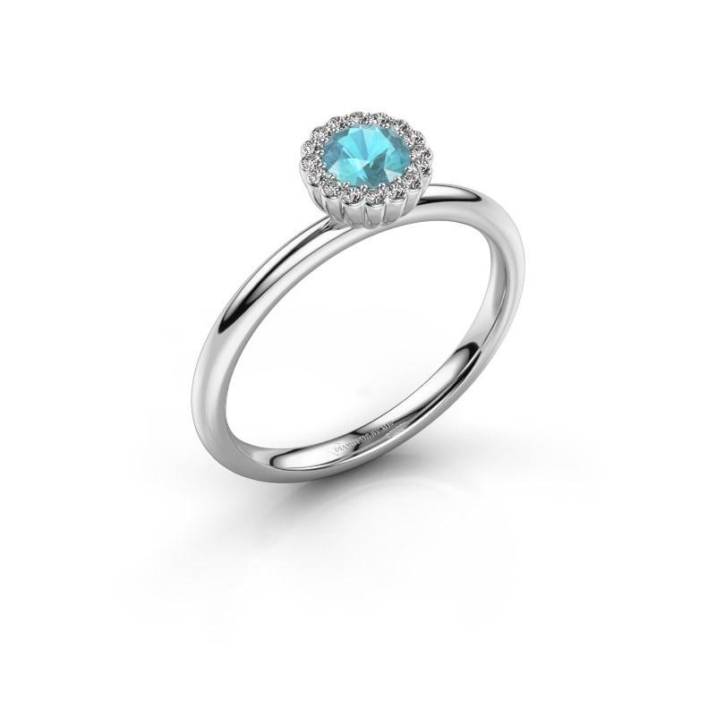 Verlovingsring Queen 950 platina blauw topaas 4.2 mm