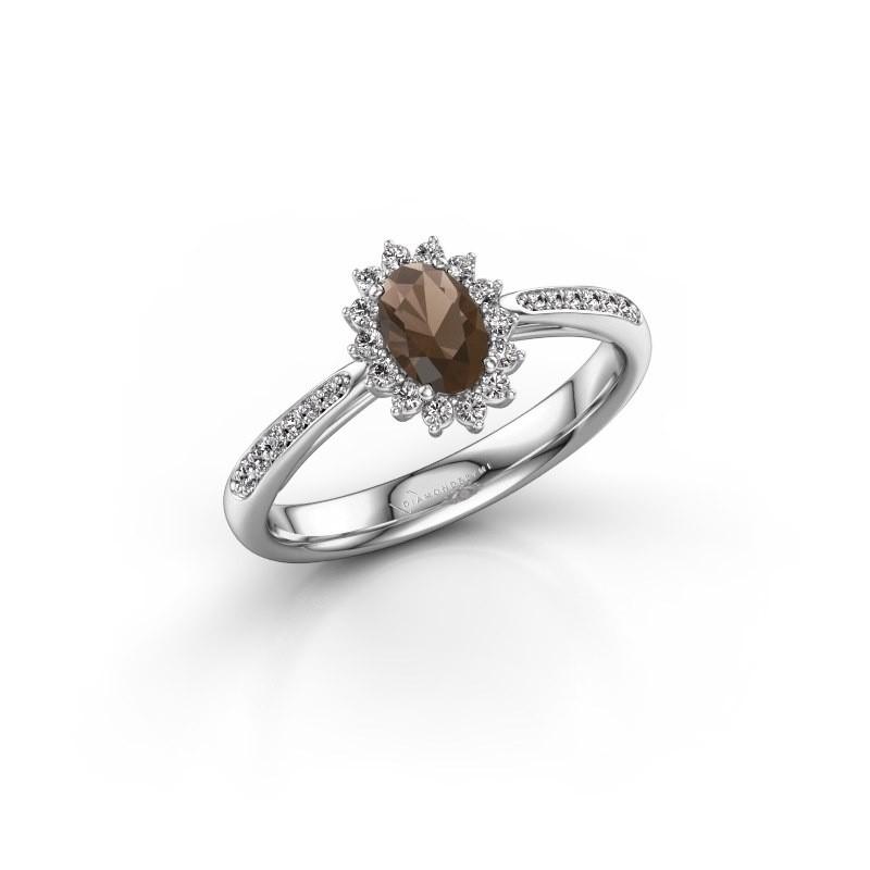 Engagement ring Tilly ovl 2 585 white gold smokey quartz 6x4 mm