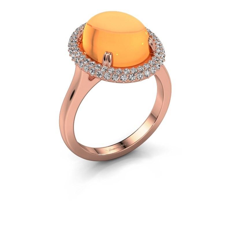 Ring Jayna 375 rosé goud citrien 12x10 mm