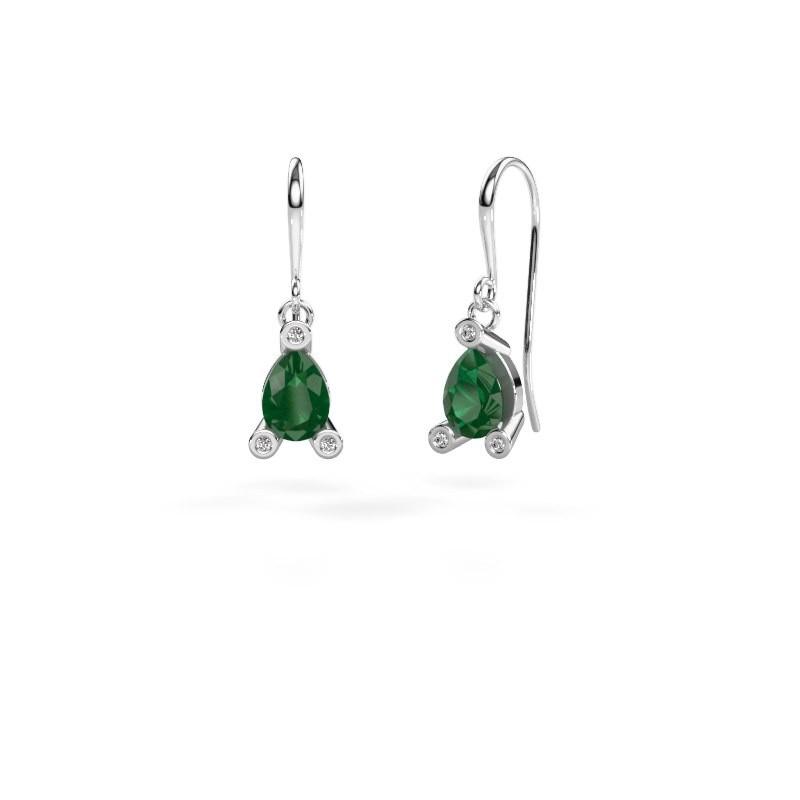 Drop earrings Bunny 1 950 platinum emerald 7x5 mm