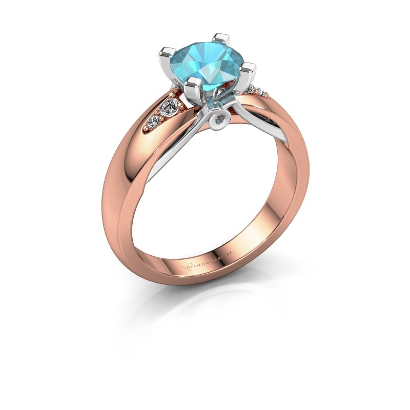 Engagement ring Ize 585 rose gold blue topaz 6.5 mm