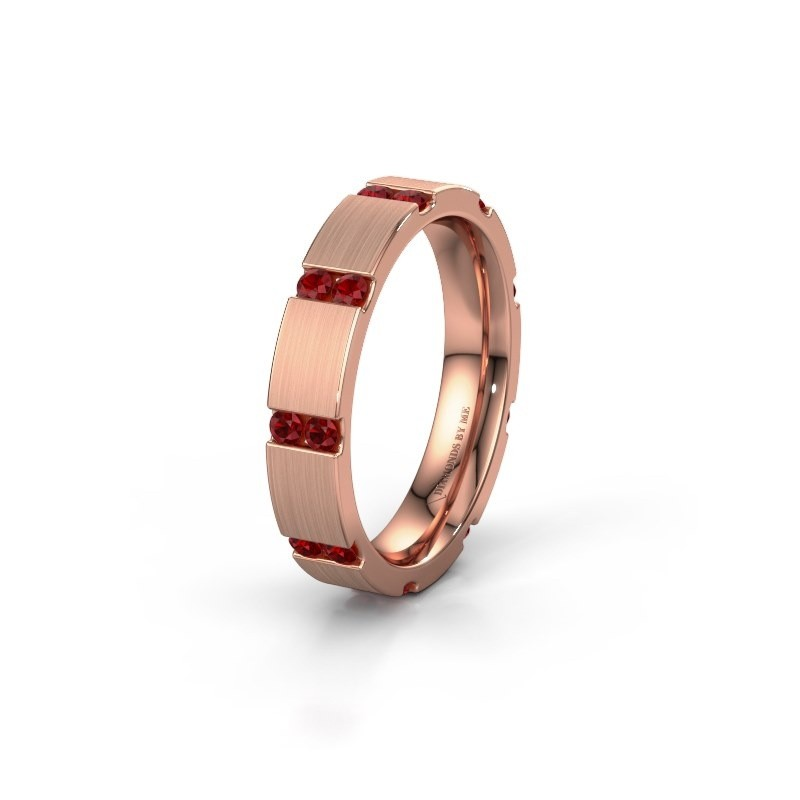 Huwelijksring WH2132L14BM 375 rosé goud robijn ±4x2.2 mm