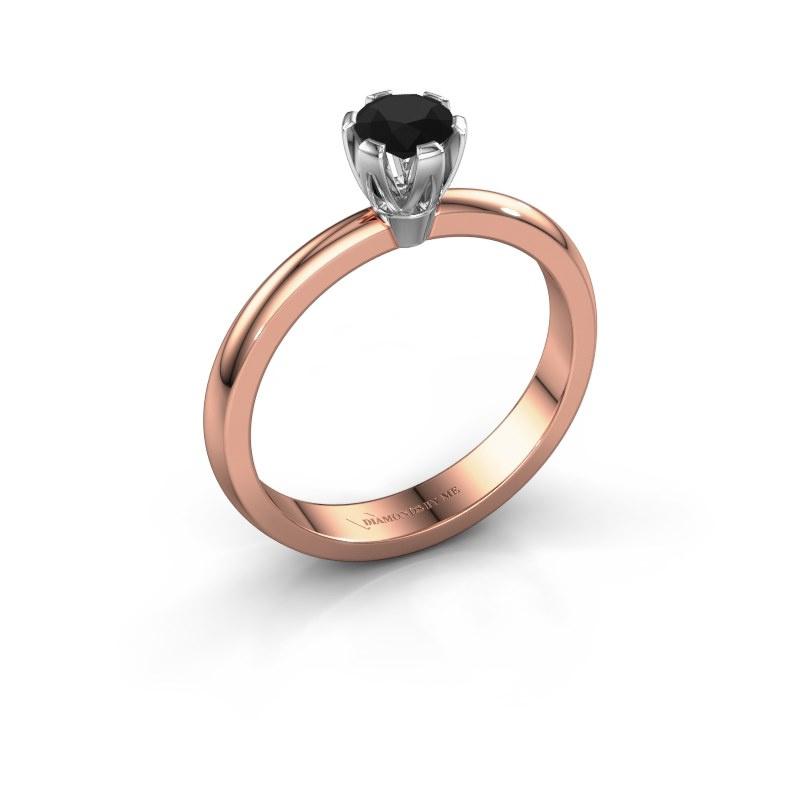 Verlovingsring Julia 585 rosé goud zwarte diamant 0.30 crt