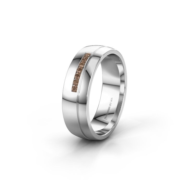 Trouwring WH0308L26AP 950 platina bruine diamant ±6x1.7 mm