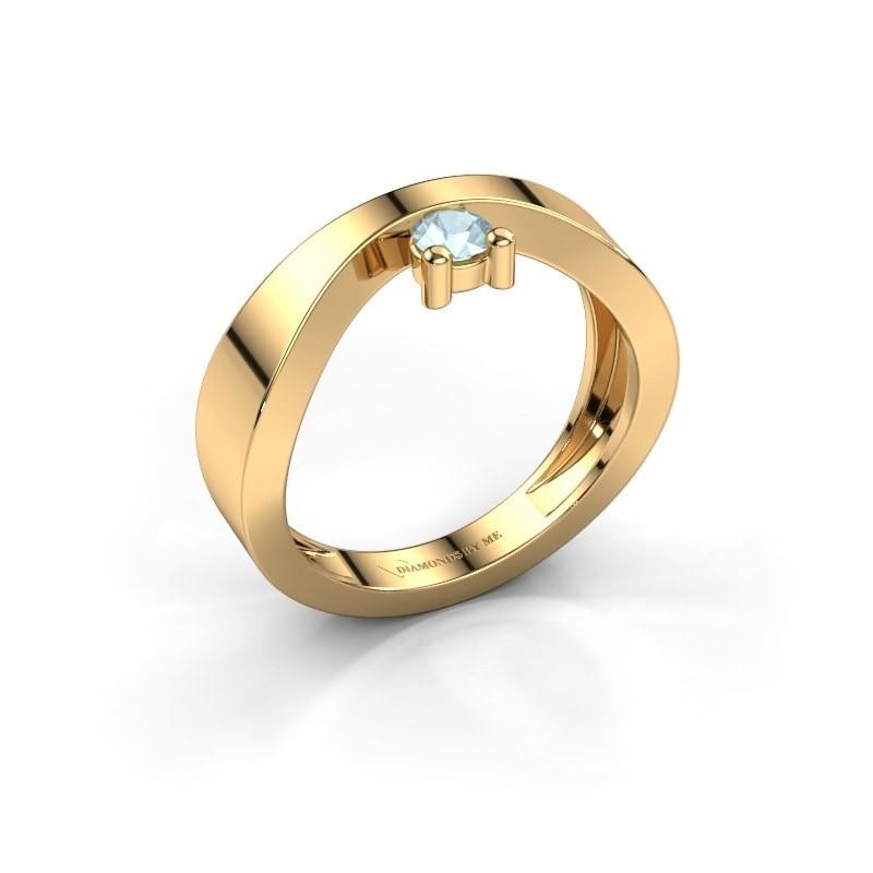 Verlovingsring Elisabeth 585 goud aquamarijn 3.4 mm