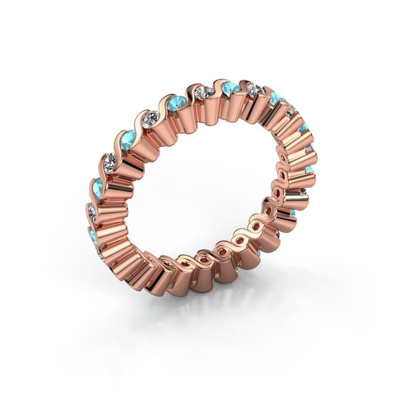 Stackable ring Faye 585 rose gold blue topaz 2 mm
