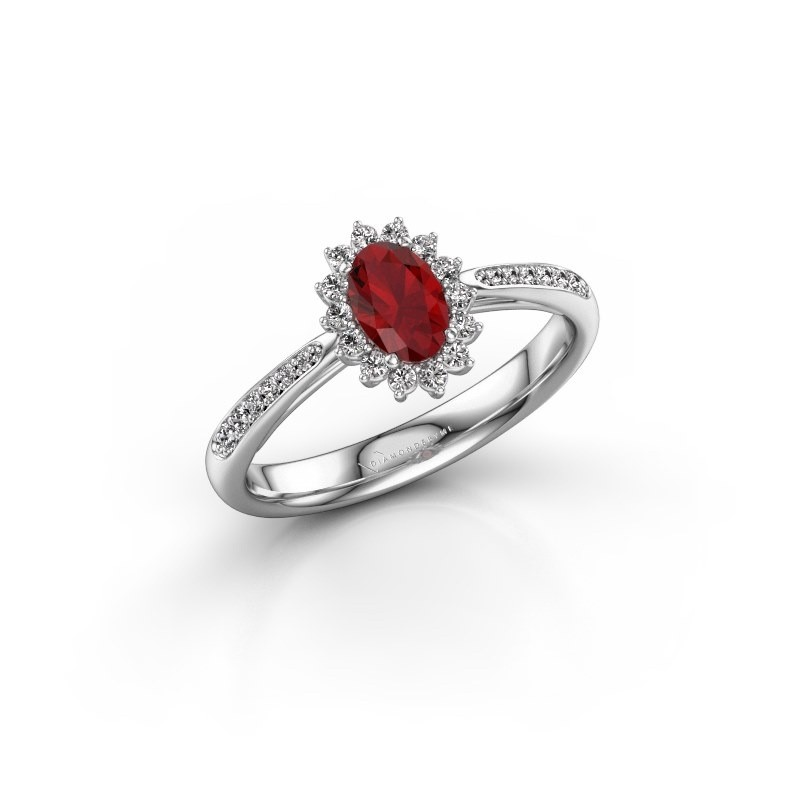 Engagement ring Tilly ovl 2 925 silver ruby 6x4 mm