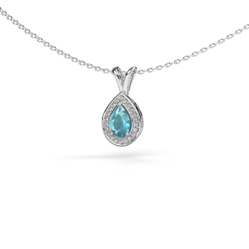 Collier Ginger 585 or blanc topaze bleue 6x4 mm