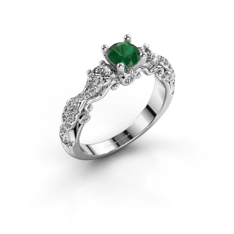 Verlovingsring Kourtney 585 witgoud smaragd 5 mm