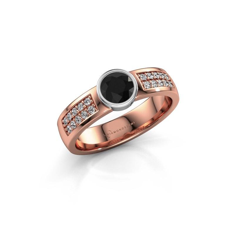 Engagement ring Ise 3 585 rose gold black diamond 0.63 crt