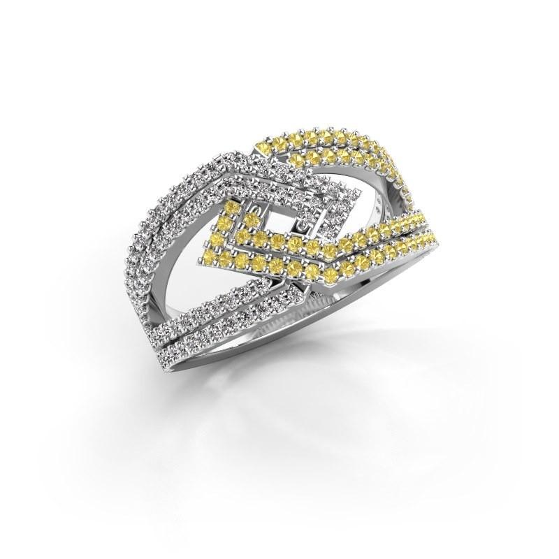 Ring Emanuelle 585 witgoud gele saffier 1 mm